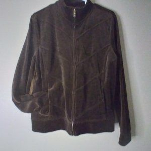 Relaxed Charter Club Chocolate Brown Velour Jacket